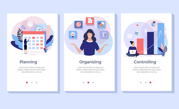 Planning and organizing concept illustration set, perfect for banner, mobile app, landing page