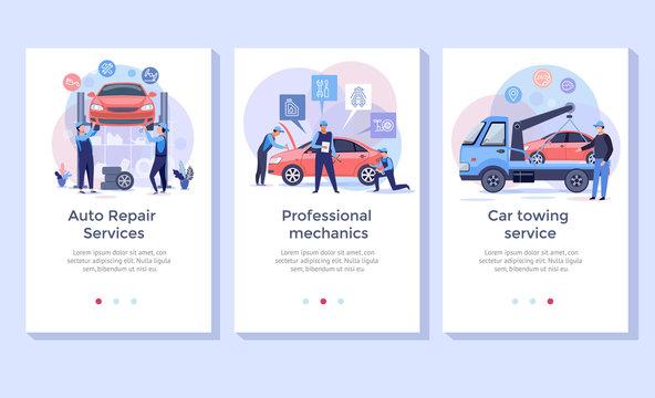 Auto repair service concept illustration set, perfect for banner, mobile app, landing page