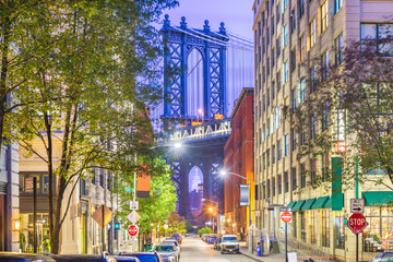 Brooklyn, New York, USA cityscape with Manhattan Bridge