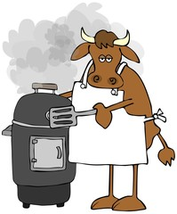 Cow cooking on a smoker