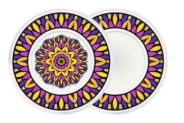 Set of Circle Floral Pattern and frame. Hand Draw Mandala. Decorative Elements. Vector Illustration. Anti-Stress Therapy Pattern