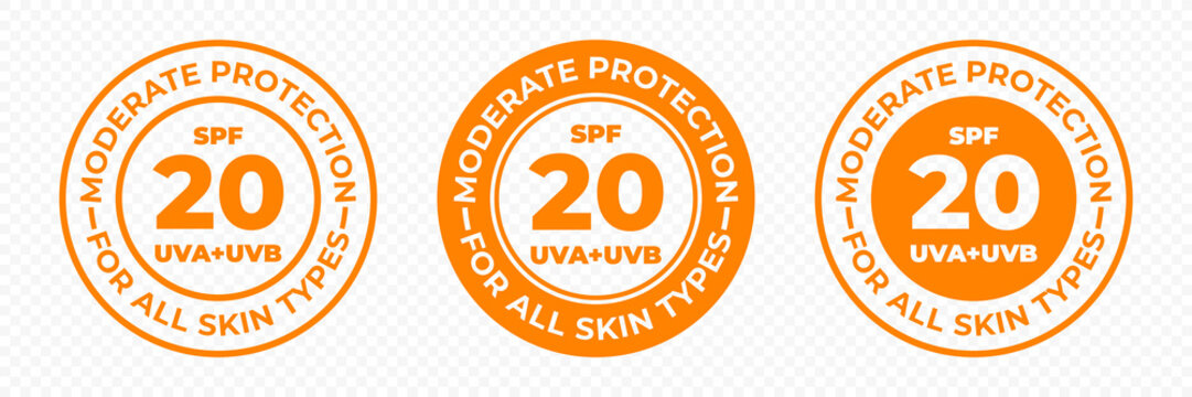 SPF 20 sun protection, UVA and UVB vector icons. SPF 20 moderate medium UV protection skin lotion and cream package label