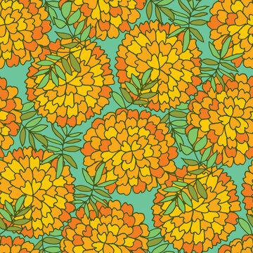 Marigold flower seamless pattern