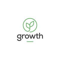 leaf growth logo design