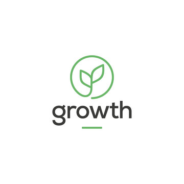 leaf growth logo design