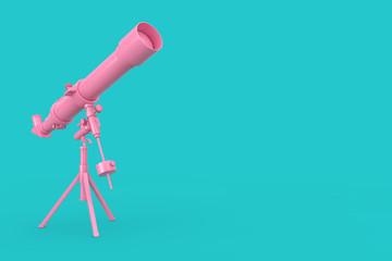 Pink Modern Mobile Telescope on Tripod. 3d Rendering Wall mural