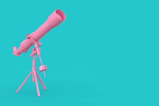 Pink Modern Mobile Telescope on Tripod. 3d Rendering