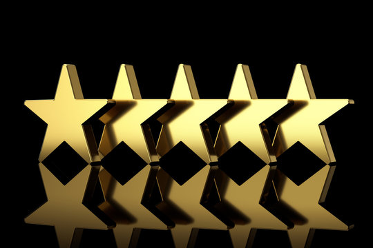 Five Golden Stars with Reflections. 3d Rendering