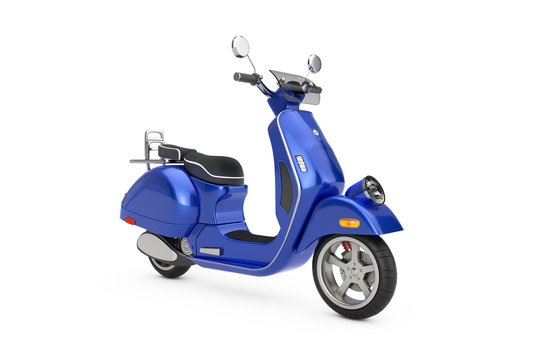 Blue Classic Vintage Retro or Electric Scooter. 3d Rendering