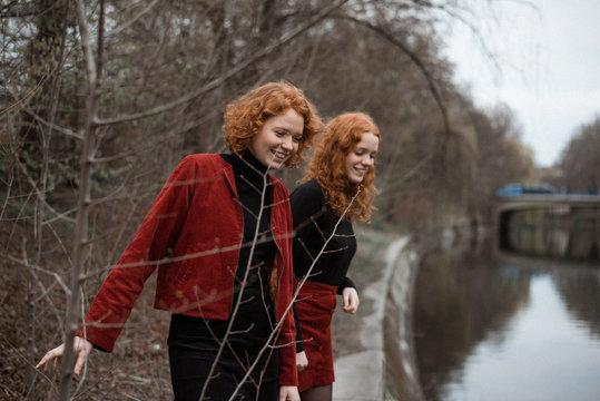 Redhead sisters having fun