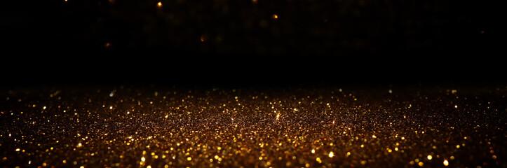 Fototapete - glitter vintage lights background. black and gold. de-focused