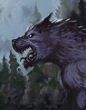 Werewolf in a wooded environment growling at the moon - digital fantasy painting