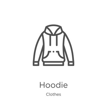 hoodie icon vector from clothes collection. Thin line hoodie outline icon vector illustration. Outline, thin line hoodie icon for website design and mobile, app development.