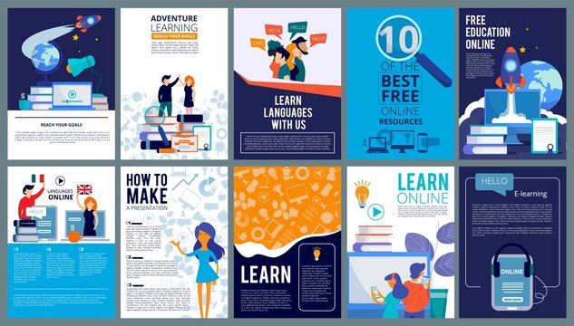Education online covers. Posters or ads flyer template with educational concept teachers fro internet training courses vector design. Language course poster ad, e-leaning resourse illustration