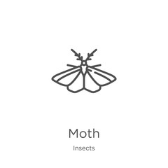 moth icon vector from insects collection. Thin line moth outline icon vector illustration. Outline, thin line moth icon for website design and mobile, app development.