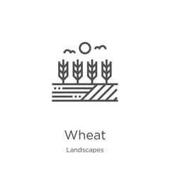 wheat icon vector from landscapes collection. Thin line wheat outline icon vector illustration. Outline, thin line wheat icon for website design and mobile, app development.