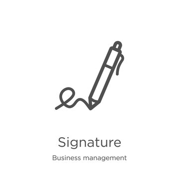 signature icon vector from business management collection. Thin line signature outline icon vector illustration. Outline, thin line signature icon for website design and mobile, app development.