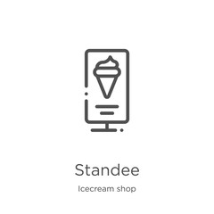 standee icon vector from icecream shop collection. Thin line standee outline icon vector illustration. Outline, thin line standee icon for website design and mobile, app development.