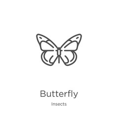 butterfly icon vector from insects collection. Thin line butterfly outline icon vector illustration. Outline, thin line butterfly icon for website design and mobile, app development.