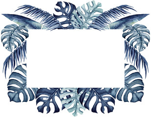 Frame with Watercolor Lush Tropical Foliage