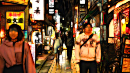 Traditional lane at night in Tokyo. Strolling people. Textures. Neon canvas style.