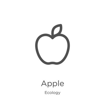 apple icon vector from ecology collection. Thin line apple outline icon vector illustration. Outline, thin line apple icon for website design and mobile, app development.
