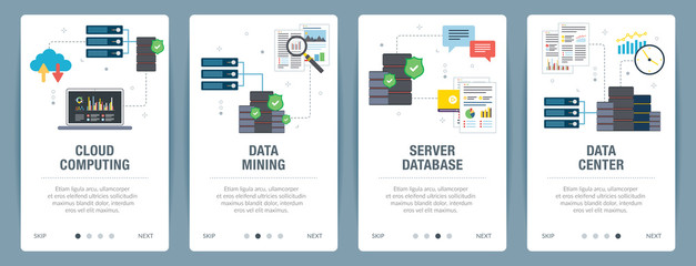 Vector set of vertical web banners with cloud computing, data mining, server database and data center. Vector banner template for website and mobile app development with icon set.