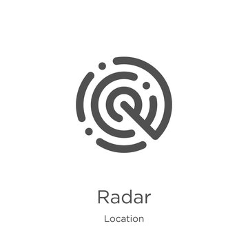 radar icon vector from location collection. Thin line radar outline icon vector illustration. Outline, thin line radar icon for website design and mobile, app development.