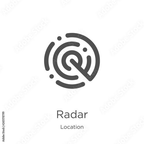 radar icon vector from location collection  Thin line radar