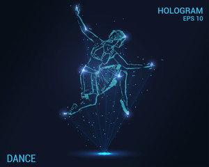 Hologram dance. Holographic projection of a ballerina. Flickering energy flux of particles. The scientific design of the dance.