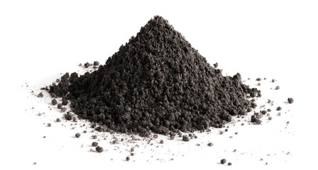 Pile of black soil, isolated on white background Wall mural