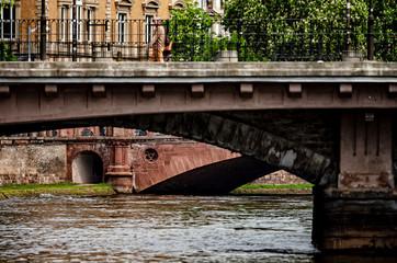 Bridge over the river Ill in Strasbourg, cityscape, old center