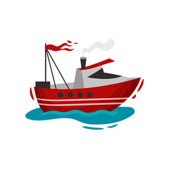 Red motor ship on the water. Vector illustration on white background.
