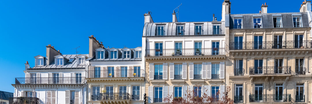 Paris, beautiful buildings in the center, typical parisian facades in the Marais