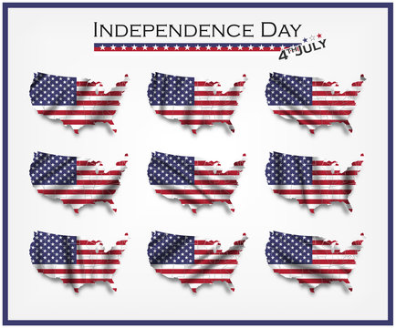 United states of america map and waving flag set . Independence day of USA ( 4th July ) concept . Element vector
