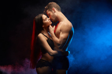 sexual contact between loving couple. close up photo. hot relation Wall mural