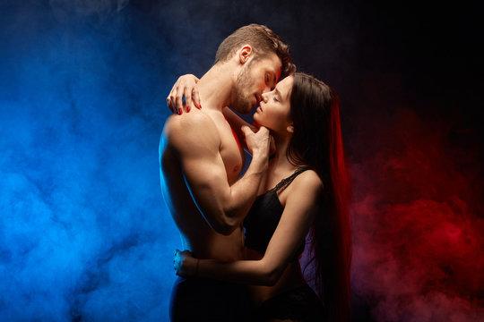 light kissing. kiss of pleasure. close up poto. peace, affection concepts