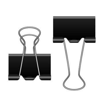 Black metal binder clip on white background