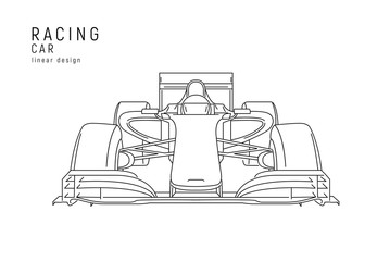 Racing car linear illustration with racer inside
