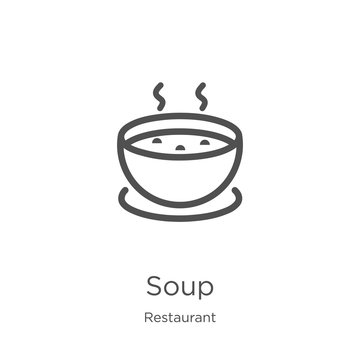 soup icon vector from restaurant collection. Thin line soup outline icon vector illustration. Outline, thin line soup icon for website design and mobile, app development.