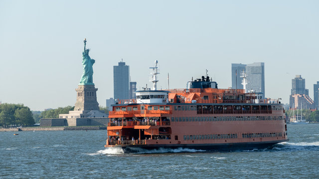 ferry downtown New York City Statue of Liberty