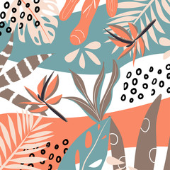 Abstract background with tropical leaves. Vector design. Flat jungle print. Floral background.