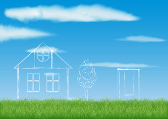 sketch of a country house with Windows, near a tree and a swing. project on the field against the blue sky and clouds