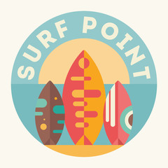 Surfing Poster. Surfboards on the Beach. Vector Illustration. Retro Design. Emblem for Surfing Club, Website or Online Shop of Surf Equipment.