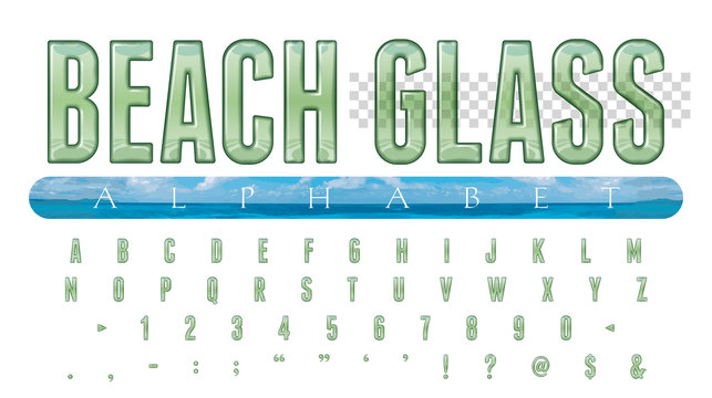 Beach Glass Alphabet: 52 Alphanumeric Characters Illustrated as Transparent Beach Glass, with Letter Baselines