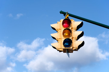 Traffic light with blue sky background