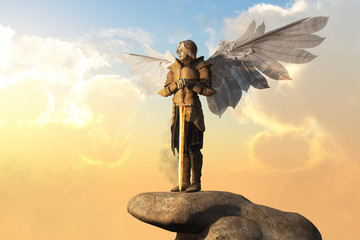 An archangel in golden armor, with sword in hand, and white feather wings spread stand atop a stone pedestal.  The bright sun rises behind it. 3D Rendering Wall mural