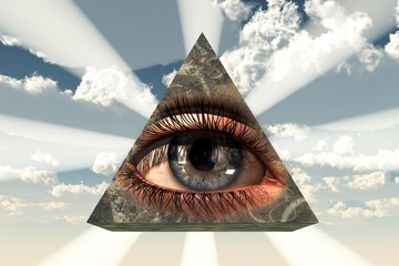 The All Seeing Eye: an eye transposed on a stone pyramid with light shining from behind, a symbol of the Illuminati and the Free Masons as well as a Christian Icon. 3D Rendering
