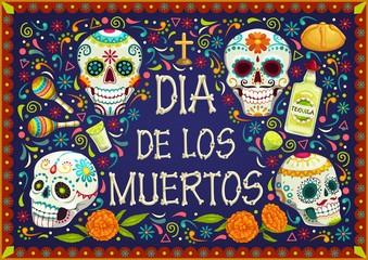 Mexican holiday flowers, Dia de los muertos skulls