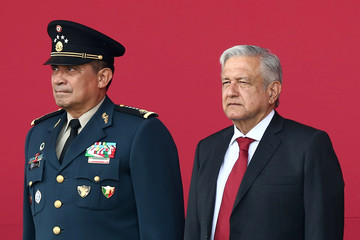 Mexico's President Obrador and Secretary of Defense Sandoval participate in an official event to mark the beginning of the construction of a new international airport, at the Santa Lucia military airbase in Tecamac